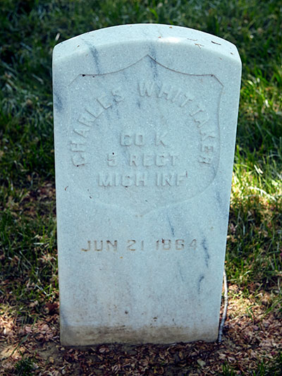 Charles Whittaker, 5th MI Infantry, Co. K grave. Image ©2015 Look Around You Ventures.