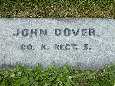 John Dover, 5th MI Infantry, Co. K grave. Image ©2015 Look Around You Ventures.