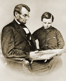 Lincoln and his son reading.