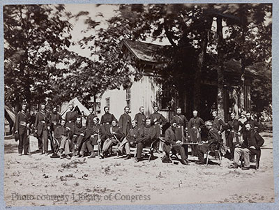 Officers of the 21st Michigan during a lull in the fighting in 1863.  Photo from the Library of Congress.