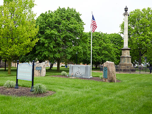 Civil War Monument in Monument Park, Adrian, MI. ©2018 Look Around You Ventures, LLC.