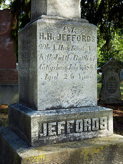 Harrison Jeffords grave detail. Image ©2016 Look Around You Ventures, LLC.