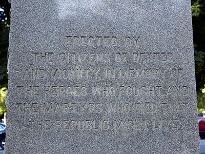Dexter GAR monument text detail. Image ©2016 Look Around You Ventures, LLC.