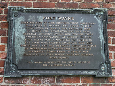Marker honoring Fort Wayne's new status as a Historical Museum in 1949. Photo ©2014 Look Around You Ventures, LLC.