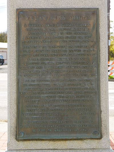 Shafter Monument Left Side Text in Galesburg, MI. Image ©2016 Look Around You Ventues, LLC.