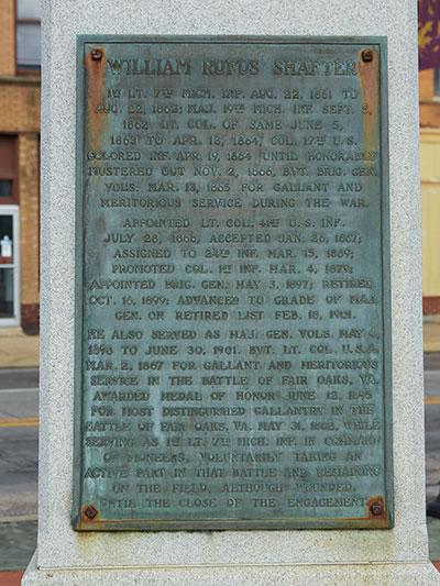 Shafter Monument Right Side Text in Galesburg, MI. Image ©2016 Look Around You Ventues, LLC.