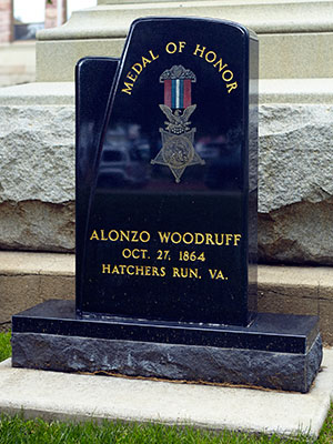 Monument erected to remember Alonzo Woodruff, who won the Medal of Honor at Hatchers Run. Photo ©2014 Look Around You Ventures, LLC.