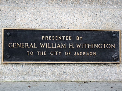 Jackson's Civil War monument presented by Gen. Wm. Withington. Photo ©2014 Look Around You Ventures, LLC.