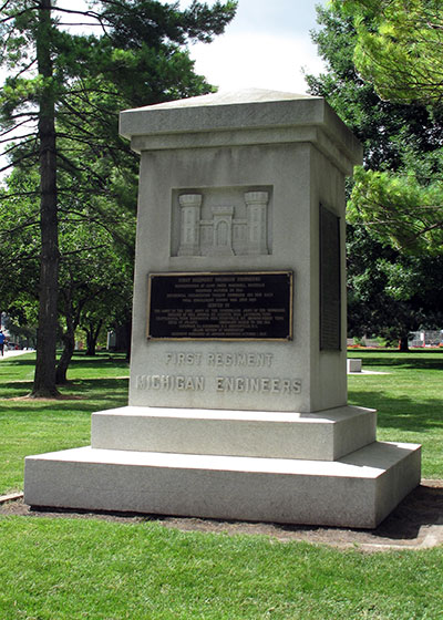 Monument erected to the 1st Regiment of Michigan Engineers located on the Michigan Capitol green. Photo ©2014 Look Around You Ventures, LLC.