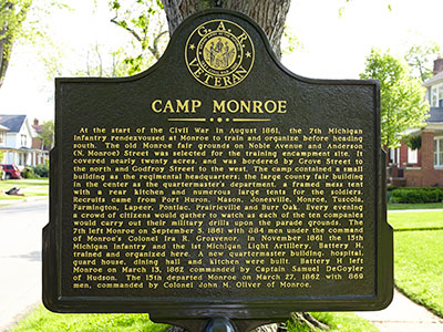 Camp Monroe marker front. Image ©2015 Look Around You Ventures, LLC.