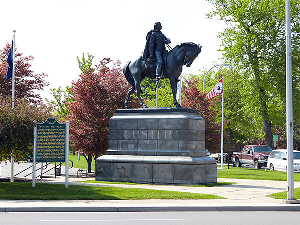 Sighting the Enemy Statue of George Custer in Monroe. Image ©2015 Look Around You Ventures, LLC.