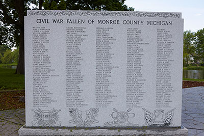 Front left panel of the Monroe County Civil War Fallen Soldiers Memorial. Image ©2015 Look Around You Ventures, LLC.