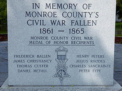 Front center panel of the Monroe County Civil War Fallen Soldiers Memorial. Image ©2015 Look Around You Ventures, LLC.