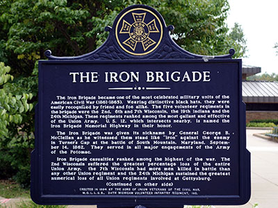 New Buffalo located marker dedicated to the history of the Iron Brigade and 24th Michigan.  Photo ©2014 Look Around You Ventures, LLC.