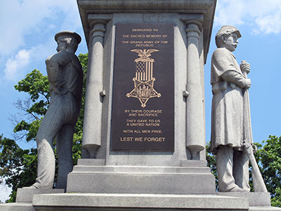 Port Huron's GAR monument in Pine Grove park. Photo ©2014 Look Around You Ventures LLC.