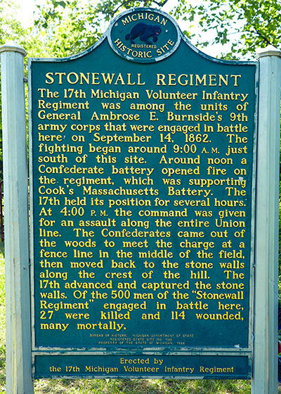 Front of the Michigan historical marker remembering the 17th Michigan Infantry at Fox's Gap. Image ©2015 Look Around You Ventures, LLC.