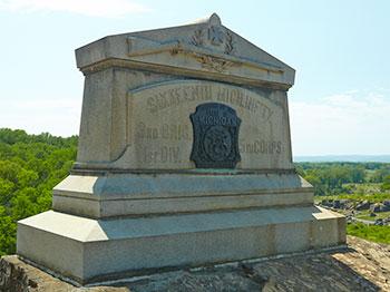 Monument dedicated to the 16th Michigan Infantry on Little Round Top. Image ©2015 Look Around You Ventures, LLC.
