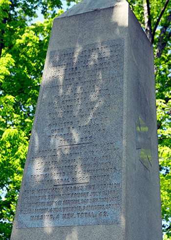 Back of the 1st Michigan Infantry Monument in the Rose Woods at Gettysburg, PA. Image ©2015 Look Around You Ventures, LLC.