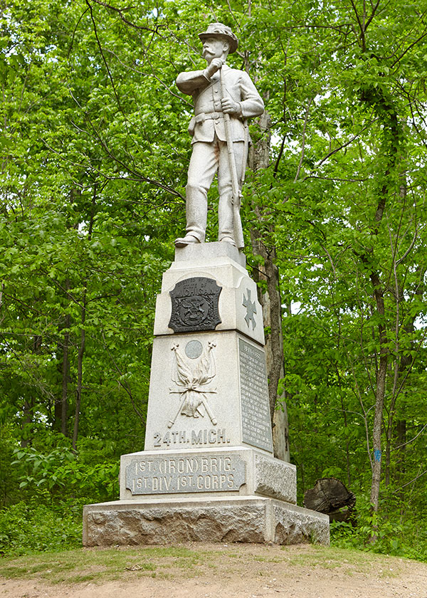 Monument dedicated to the 24th Michigan at Gettysburg. Image ©2015 Look Around You Ventures, LLC.