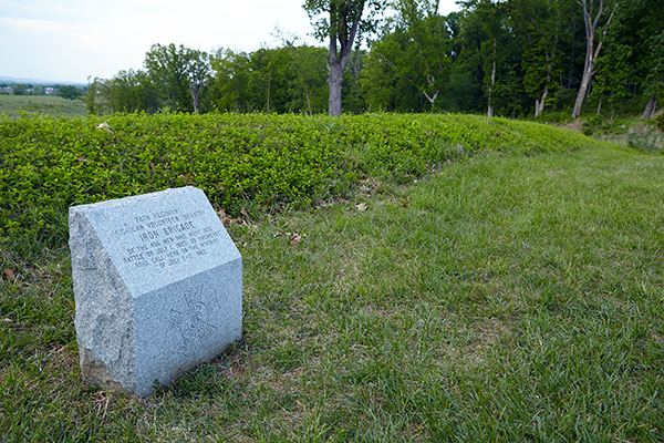 Marker noting where the 24th Michigan collected on the night of July 1 and served on July 2 and 3 at Gettysburg. Image ©2015 Look Around You Ventures, LLC.