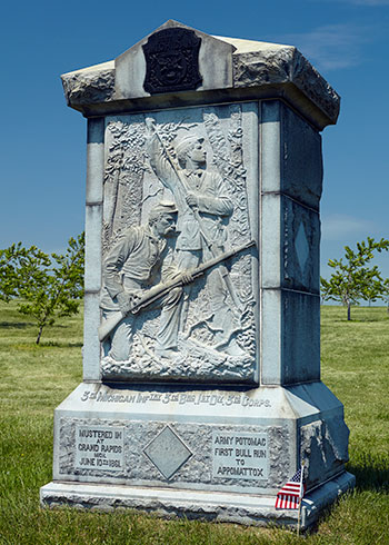 Front of the 3rd Michigan Monument in the Peach Orchard at Gettysburg, PA. Image ©2015 Look Around You Ventures, LLC.
