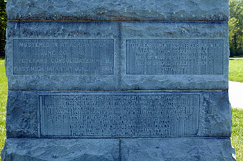 Text detail of the monument dedicated to the 4th Michigan at Gettysburg. Image ©2015 Look Around You Ventures, LLC.