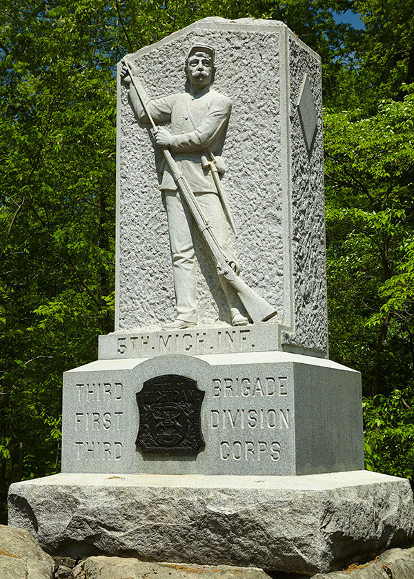 Monument dedicated to the 5th Michigan at Gettysburg. Image ©2015 Look Around You Ventures, LLC.