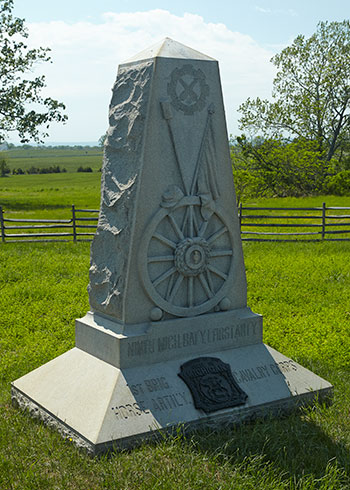 Front of the 9th Michigan, Battery I monument at Gettysburg. Image ©2015 Look Around You Ventures, LLC.