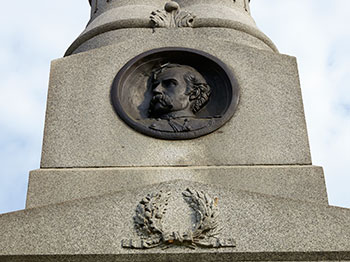 Bust of Brigadier General Custer from the Michigan Cavalry Brigade monument at Gettysburg. Image ©2015 Look Around You Ventures.