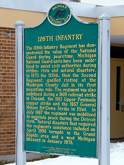 Michigan Historical Marker dedicated to the 126th Infantry, descended from the 3rd Michigan Infantry. Photo ©2015 Look Around You Ventures LLC.