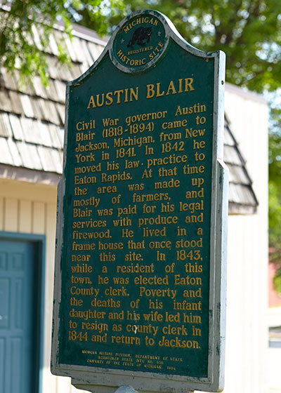 Back of Austin Blair Michigan Historic Marker erected in Eaton Rapids. Photo ©2014 Look Around You Ventures LLC.