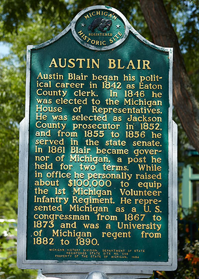 Front of Austin Blair Michigan Historic Marker erected in Eaton Rapids. Photo ©2014 Look Around You Ventures LLC.