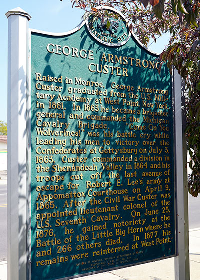 State historic marker back dediated to George Custer in Monroe. Image ©2015 Look Around You Ventures, LLC.