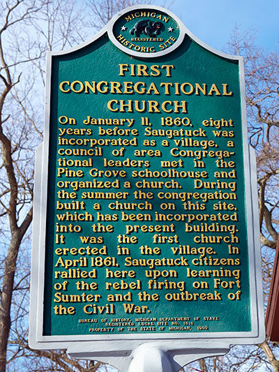 Michigan Historical Marker dedicated to the 1st Congregational Church. Photo ©2015 Look Around You Ventures LLC.