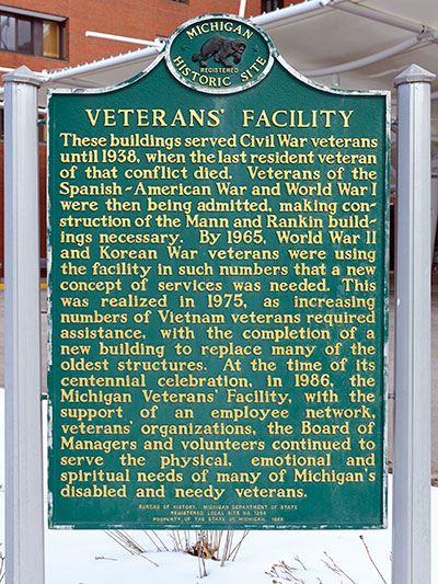 Michigan Historical Marker dedicated the Veteran's Facility which was opened to care for Civil War Veterans. Photo ©2015 Look Around You Ventures LLC.