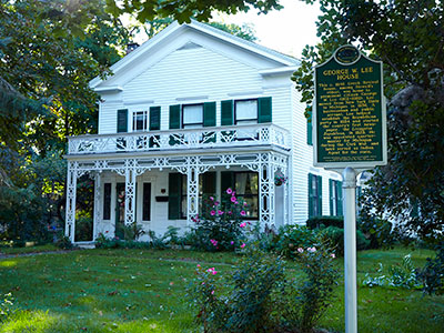 George W. Lee house and state historical marker located in Howell, MI. Image ©2014 Look Around You Ventures, LLC.