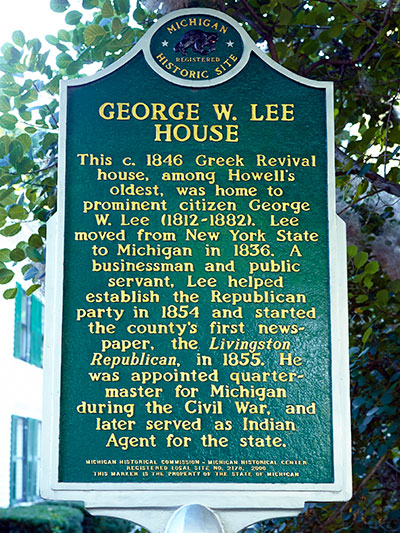George W. Lee state historical marker located in Howell, MI. Image ©2014 Look Around You Ventures, LLC.