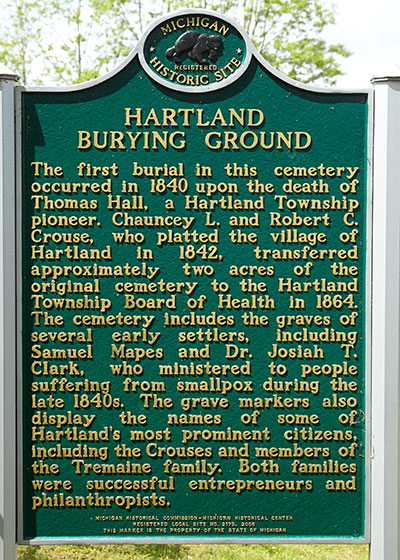 Michigan Historic Marker recognizing the Hartland Burying Ground. Image ©2015 Look Around You Ventures, LLC.