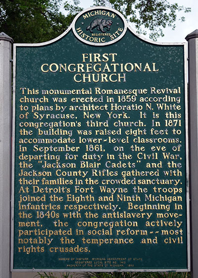 Michigan Historical Marker dedicated to the First Congregrational Church in Jackson and it's role in the Civil War. Photo ©2014 Look Around You Ventures LLC.