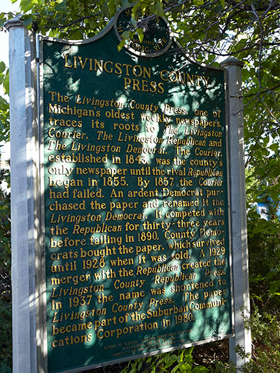 Back of the Livingston County Press state historical marker located in Howell, MI. Image ©2014 Look Around You Ventures, LLC.