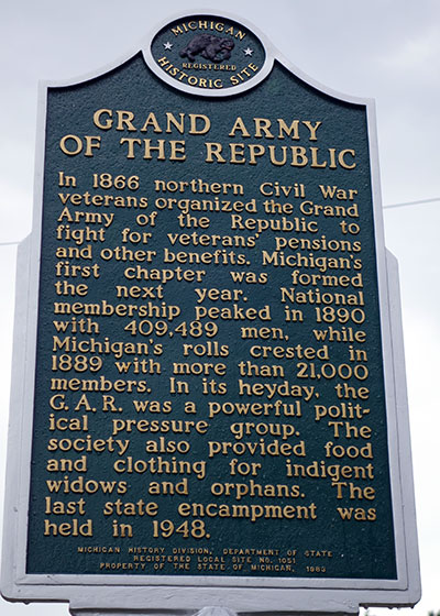 Michigan Historical Marker dedicated to the GAR, a Civil War Veteran's association.  It is located in Marshall. Photo ©2014 Look Around You Ventures LLC.