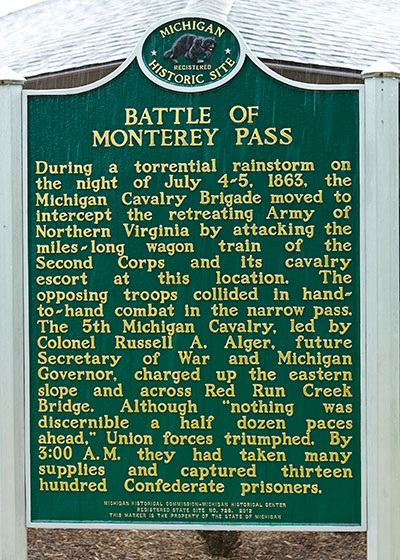 Marker dedicated to the Michigan Cavalry Brigade at the Waynesboro, PA battlefield park. Photo ©2015 Look Around You Ventures, LLC.