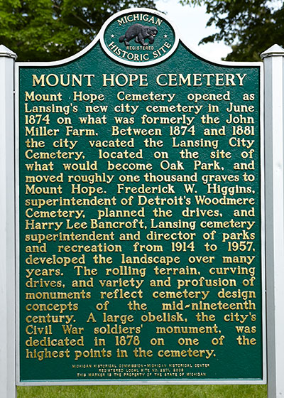 Michigan Historic Marker recognizing the Mount Hope Cemetery. Image ©2015 Look Around You Ventures, LLC.