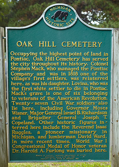 Back of Michigan Historical Marker at Oak Hill Cemetery in Pontiac, MI. Photo ©2014 Look Around You Ventures LLC.