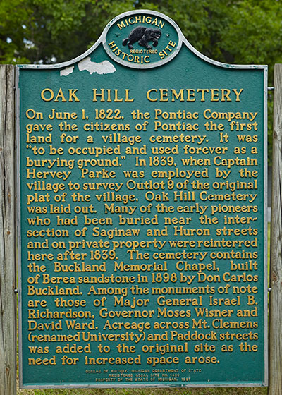 Front of Michigan Historical Marker at Oak Hill Cemetery in Pontiac, MI. Photo ©2014 Look Around You Ventures LLC.
