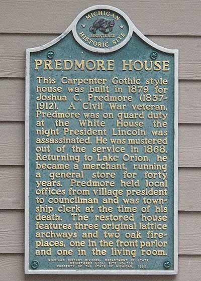 Predmore House Michigan Historic Marker - Image Copyright Look Around You Ventrues 2014.