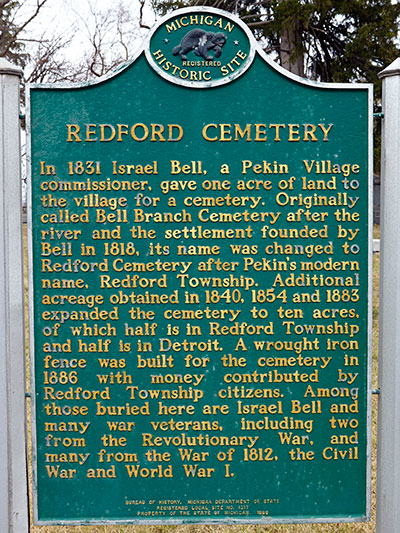Redford Cemetery Michigan Historical Marker. Image ©2015 Look Around You Ventures, LLC.