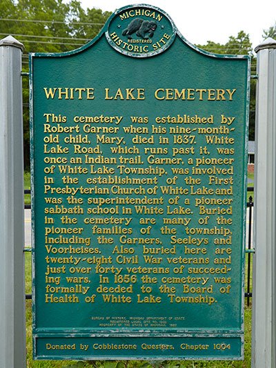 White Lake Cemetery state historical marker. Image ©2014 Look Around You Ventures, LLC.