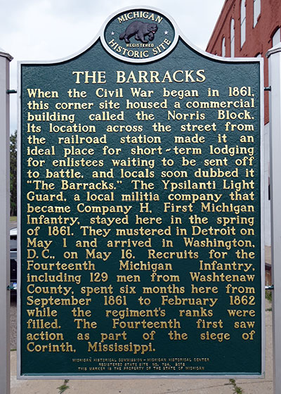 "Michigan Historical Marker dedicated to ""The Barracks"" a builidng in Ypsilanti. Photo ©2014 Look Around You Ventures LLC."
