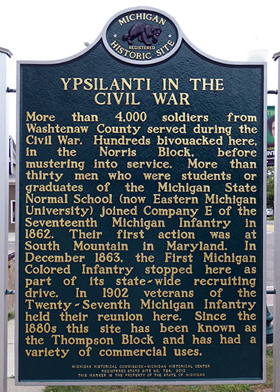 Michigan Historical Marker dedicated to Ypsilanti's role in the Civil War. Photo ©2014 Look Around You Ventures LLC.